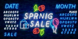 Neon alphabet and Happy Spring lettering in flower frame over brick background. Spring sale, seasonal goods, store emblem. Spring. Neon alphabet and Happy Spring stock illustration