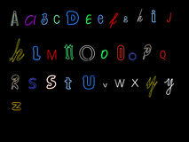 Neon alphabet letters. Collection of neon alphabet letters, A to Z Royalty Free Stock Photography