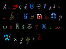 Neon alphabet letters Stock Photos