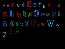 Neon alphabet letters Royalty Free Stock Image