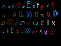 Neon alphabet letters. Collection of neon alphabet letters, A to Z Stock Photography