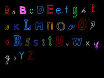 Neon alphabet letters. Collection of neon alphabet letters, A to Z Royalty Free Stock Images