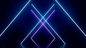 Neon alphabet X letters in motion on dark blue background. Abstract white neon symbols form geometrical figure on dark stock illustration