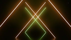 Neon alphabet X letters in motion on dark green and black background. Abstract white neon symbols form geometrical stock illustration