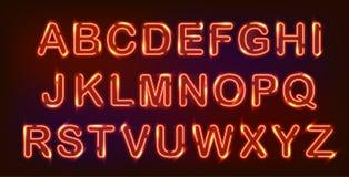 Neon alphabet set. Royalty Free Stock Image