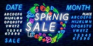 Neon alphabet and Spring Sale in flower frame over brick background. Spring sale, seasonal goods, store emblem. Spring concept. Neon alphabet and Happy Spring royalty free illustration