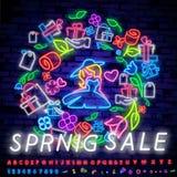 Neon alphabet and Spring Sale in flower frame over brick background. Spring sale, seasonal goods, store emblem. Spring concept. Neon alphabet and Happy Spring stock illustration