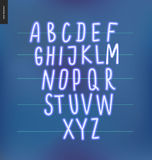 Neon alphabet 3. Neon alphabet volume 3 - vector illustrated kids font glowing letters set on blue background Royalty Free Stock Image