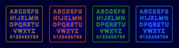 Neon alphabets royalty free illustration