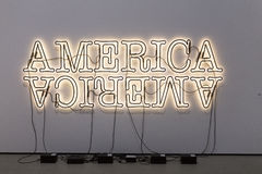 Neon America Sign at The Broad Contemporary Art Museum. LOS ANGELES, CALIFORNIA - JULY 5, 2016: The Broad, a contemporary art museum in Los Angeles, California Stock Images