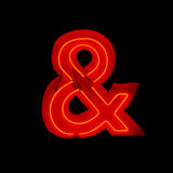 Neon ampersand. Isolated neon ampersand sign element stock photo