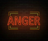 Neon anger concept. Royalty Free Stock Images