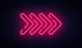 Neon arrow sign. Glowing neon arrow pointer on brick wall background. Retro signboard with bright neon tubes royalty free illustration