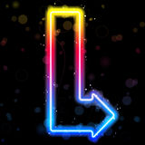 Neon Arrow with Sparkles. Royalty Free Stock Photography