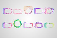 Neon Asymmetric rectangular frame of lines set. Stylized guilloche stock illustration