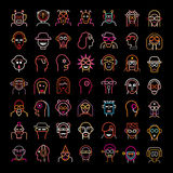 Neon Avatars. Large set of various vector avatars. Neon color isolated clip arts on black background Stock Photography