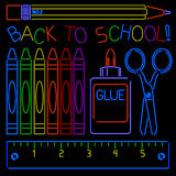Neon Back-to-school Signs Stock Image