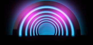 Neon background. Arch 3D rendering. Abstract neon background, minimalistic arch suspended by neon light. Neon background. Arch 3D rendering stock illustration