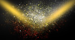 Neon, background bokeh, abstract scene. Abstract new background, scene, with glare of light and magical pollen, bright colors, on a dark background Stock Photography
