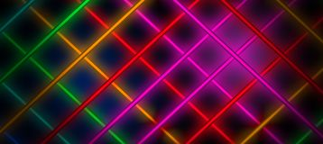 Neon background, cage of light rays. On a dark background, neon beams in the form of a cage Stock Illustration
