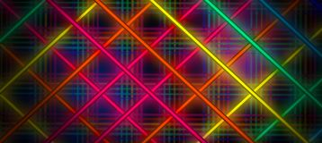 Neon background, cage of light rays vector illustration