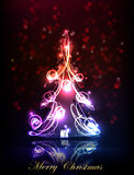 Neon background, Christmas tree Royalty Free Stock Photography