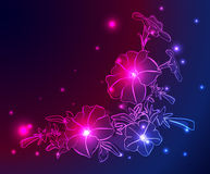 Neon background with flowers and stars - eps Stock Photography