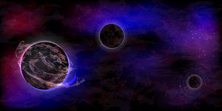 Neon background with space and three planets Royalty Free Stock Photography
