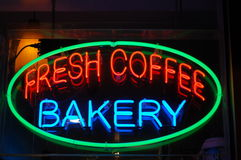 Neon Bakery and Coffee Sign Stock Photos