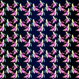 Neon banana - seamless pattern on a blue gradient background Stock Images