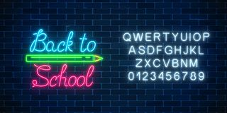 Neon banner with back to school greeting text. Design of leaflet, flyer with pencil and alphabet. Glowing neon sign. With school supplies. Welcome to school vector illustration