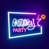 Neon banner Christmas party Royalty Free Stock Images