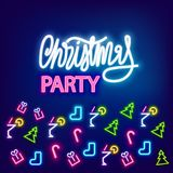Neon banner Christmas party Royalty Free Stock Photography