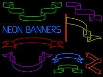 Neon Banner Set Stock Photography