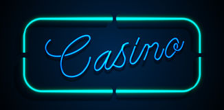 Neon banner on text casino background Royalty Free Stock Images
