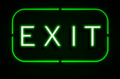 Neon banner on text exit background Stock Photo