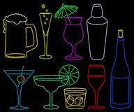 Neon bar collection Stock Photography