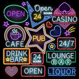 Neon bar illumination vector signs Stock Photos