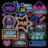 Neon bar illumination vector signs. Illuminated neon cafe and casino, sign neon open illustration vector illustration