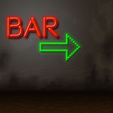 Neon Bar Indicates Tavern Bright And Glow Stock Image