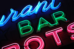 Neon bar sign. Detail of a neon bar sign in Las Vegas stock photos