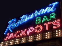 Neon bar sign. Wide shot of a neon bar sign in Las Vegas royalty free stock photography