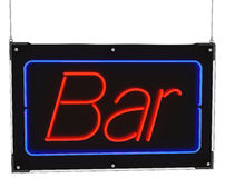 Neon Bar Sign with Hanging Cables Stock Image