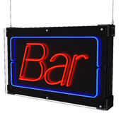 Neon Bar Sign with Hanging Cables Royalty Free Stock Photos