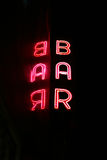 Neon bar sign with reflection Royalty Free Stock Photography