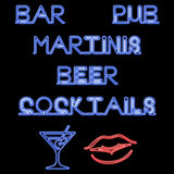 Neon Bar Signs Royalty Free Stock Images