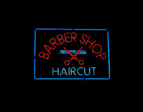 Neon BARBER SHOP sign Stock Image