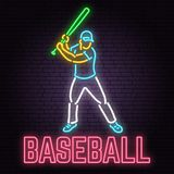 Neon Baseball Sign On Brick Wall Background. Vector Illustration. Stock Photos