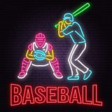 Neon Baseball or softball sign on brick wall background. Vector illustration. Neon style design with baseball batter, catcher and ball for baseball silhouette royalty free illustration