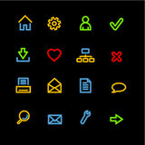 Neon basic web icons. Vector icon set, neon series Royalty Free Stock Photography